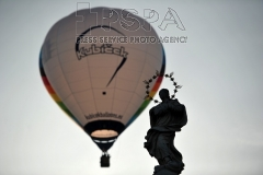Hot air balloons are pictured in Czech Unesco World Heritage town Telc