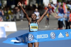 Lucy Karimi from Kenya wins the women section of 22st Prague International Marathon in Prague, 8 May, 2016, Czech Republic.