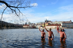 Participants join the traditional New Year's Winter swimming