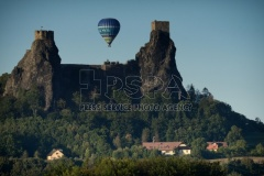 Hot air balloon fly over the Trosky Castle of the Bohemian Paradise